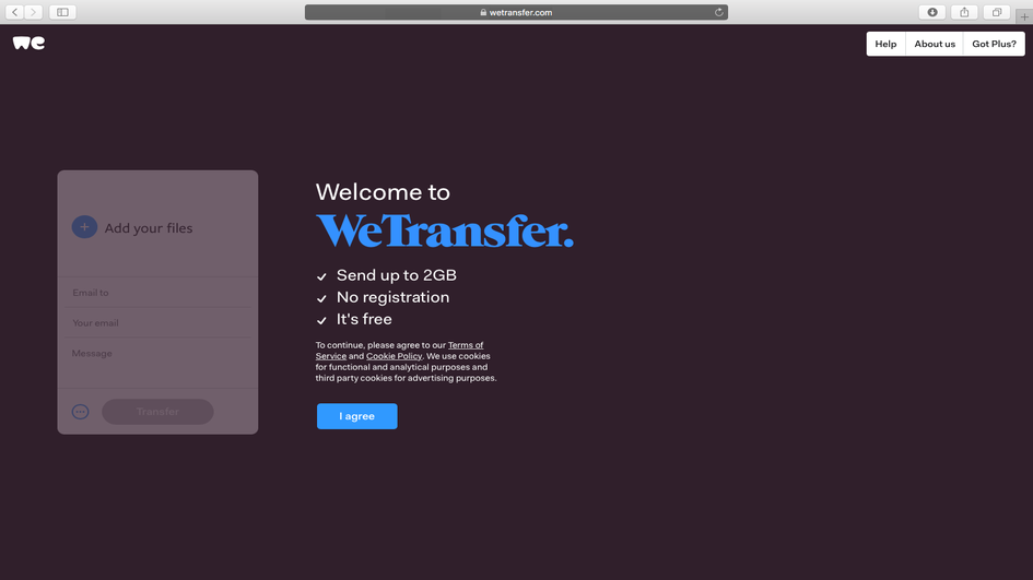 WeTransfer landing page
