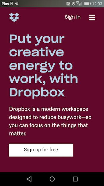 Dropbox mobile landing page)